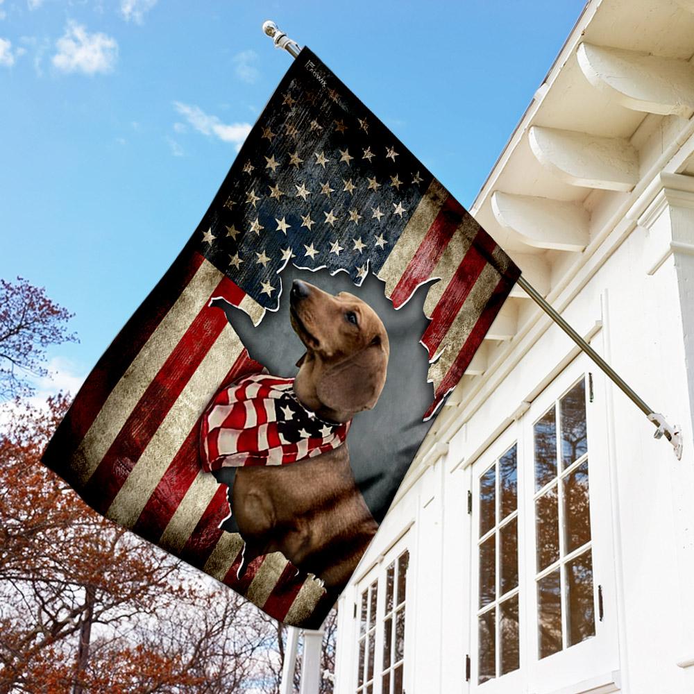 Dachshund happy 4th of july american us flag 1