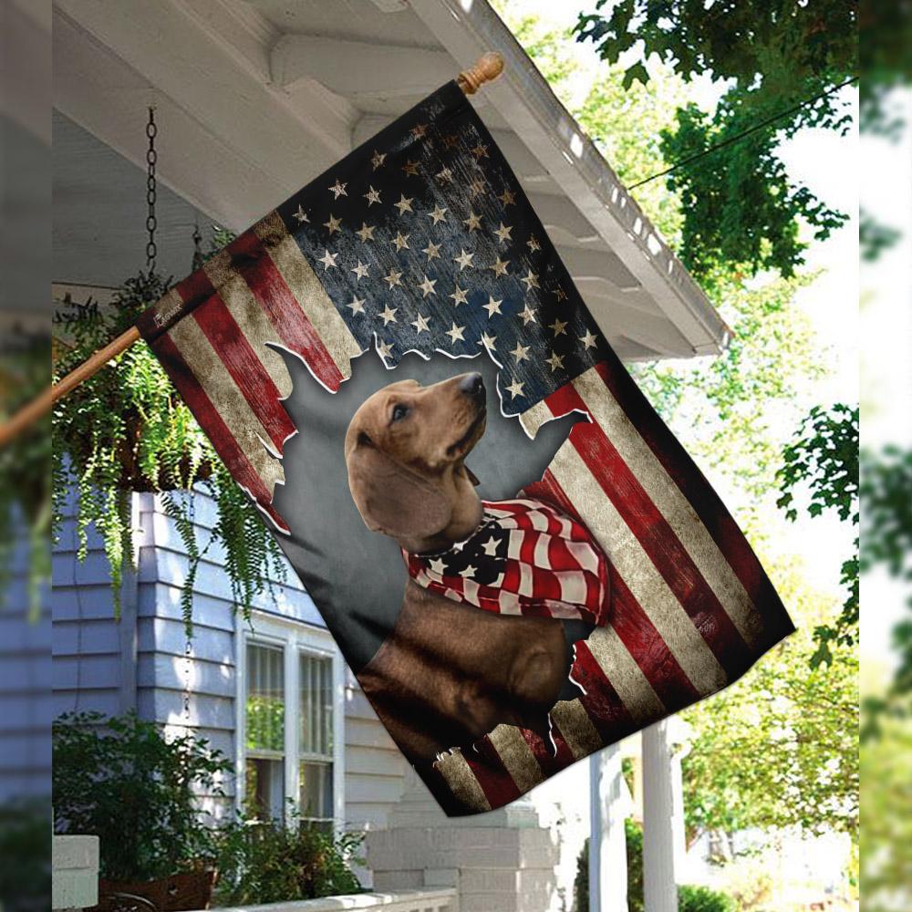 Dachshund happy 4th of july american us flag 2