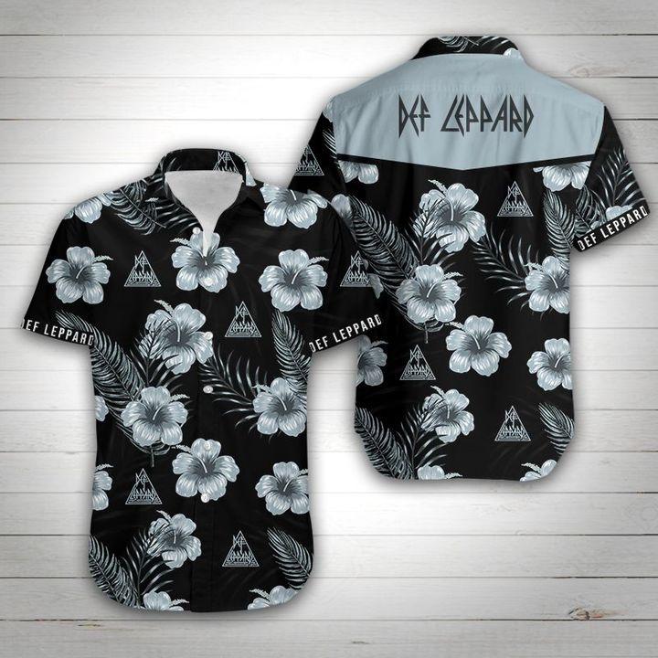 Def leppard tropical flower hawaiian shirt 1