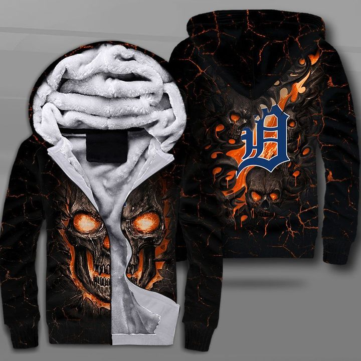 Detroit tigers lava skull full printing fleece hoodie