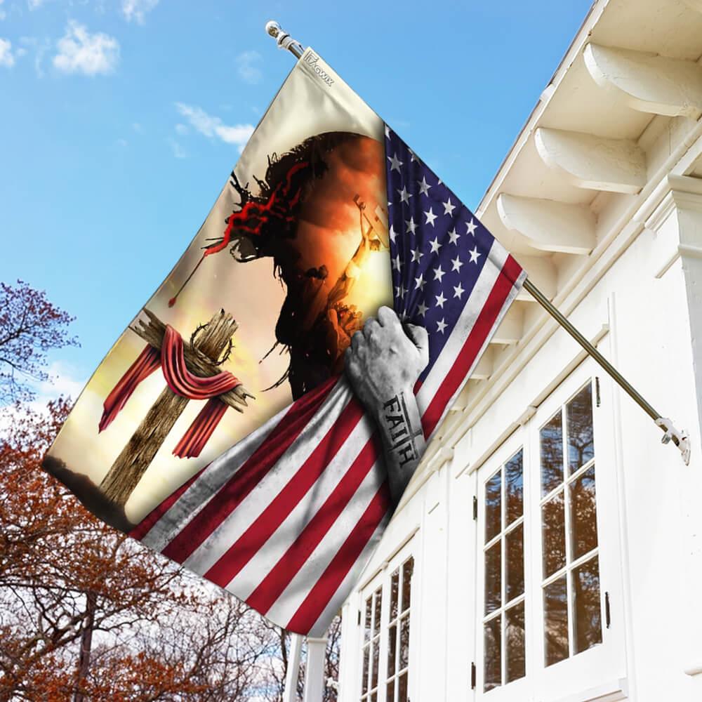 God Jesus christian cross faith american flag 1