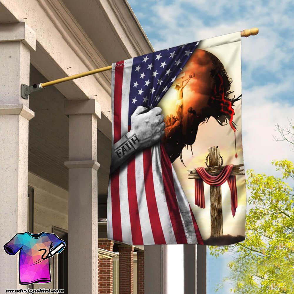 God Jesus christian cross faith american flag