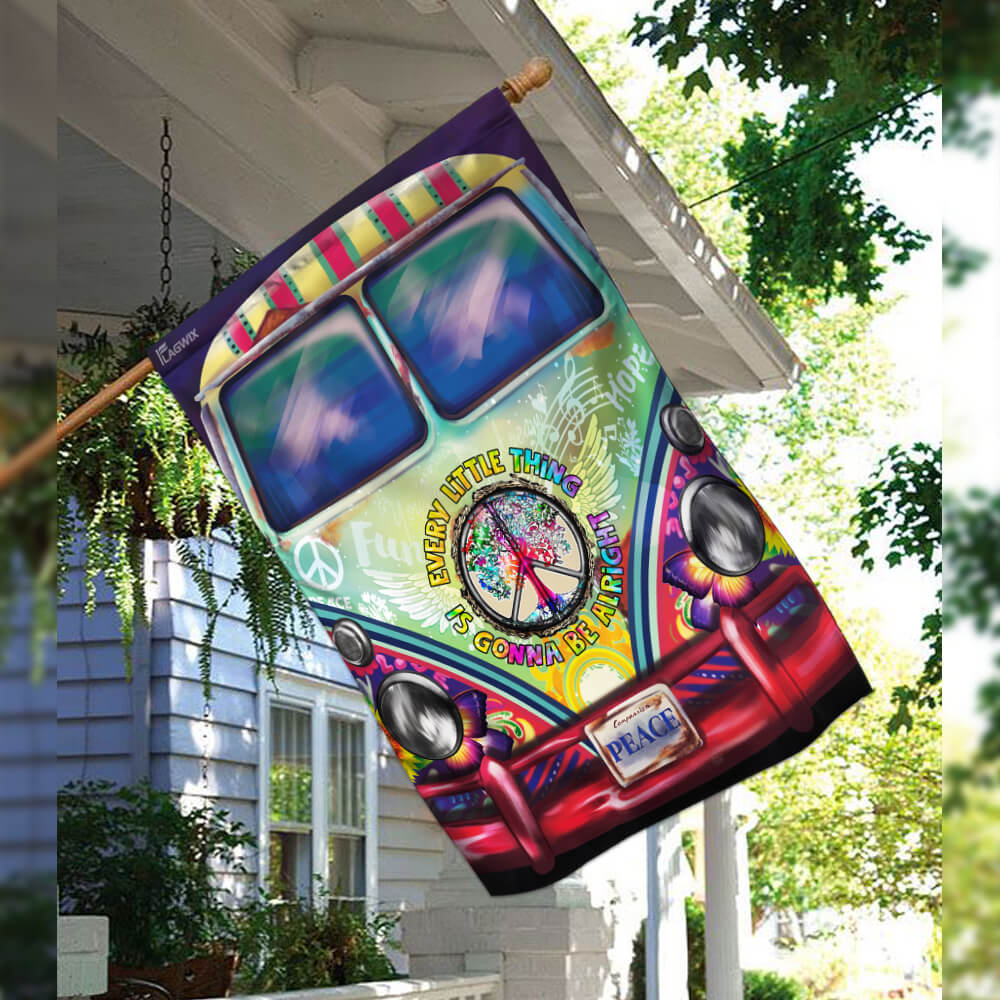 Hippie bus every little thing is gonna be alright flag 2