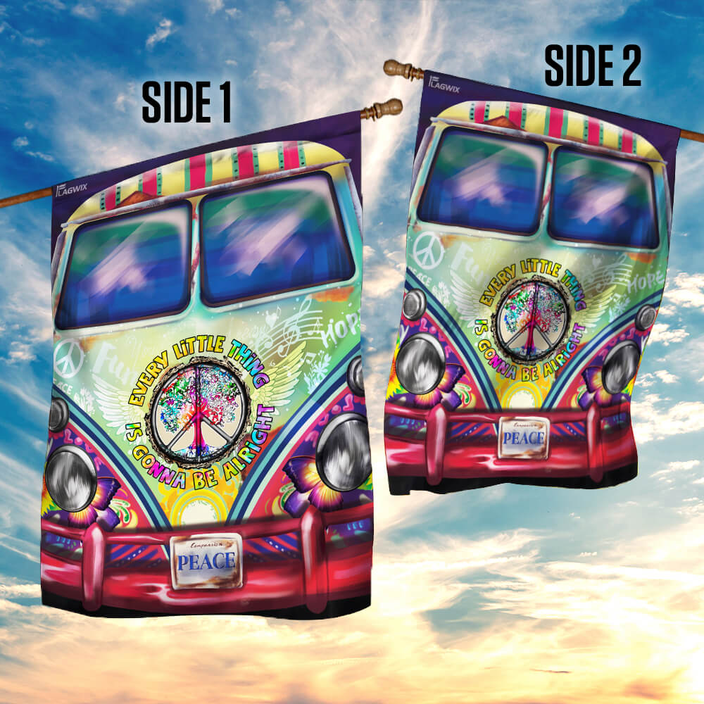 Hippie bus every little thing is gonna be alright flag 4