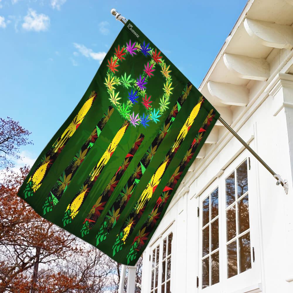 Hippie marijuana leaf 420 flag 1