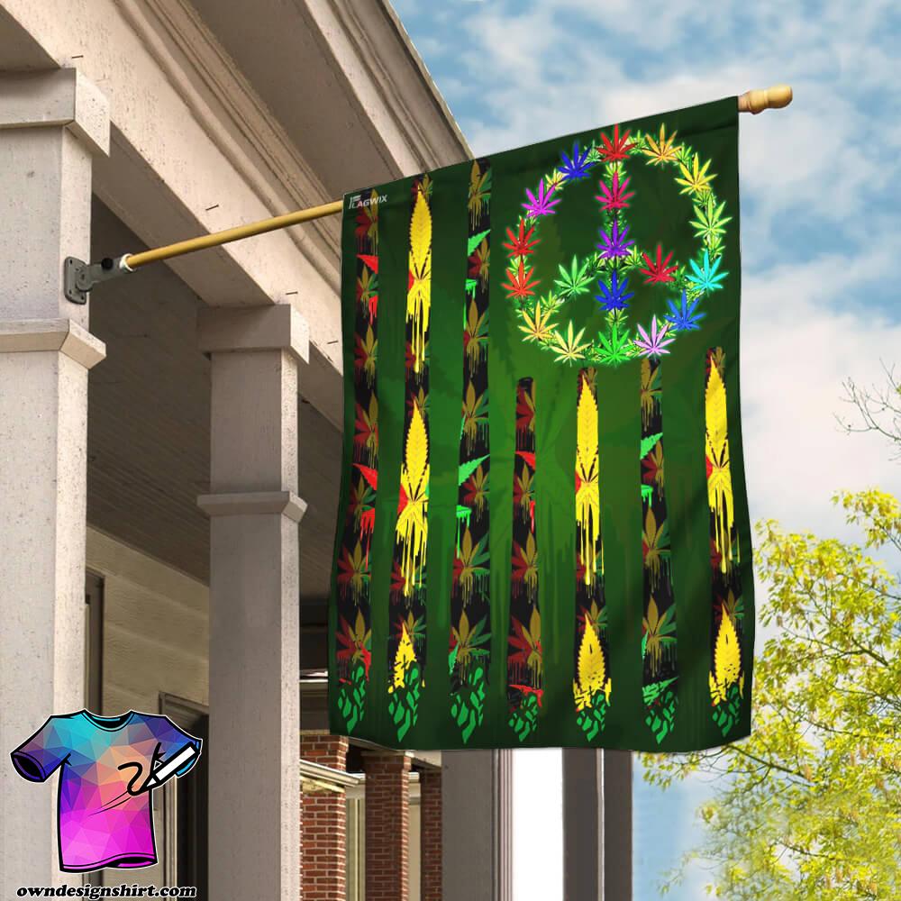 Hippie marijuana leaf 420 flag