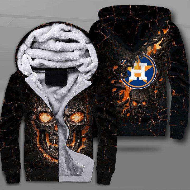 Houston astros lava skull full printing fleece hoodie