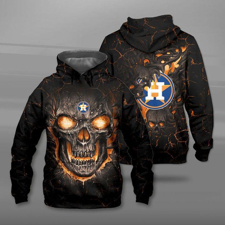 Houston astros lava skull full printing hoodie