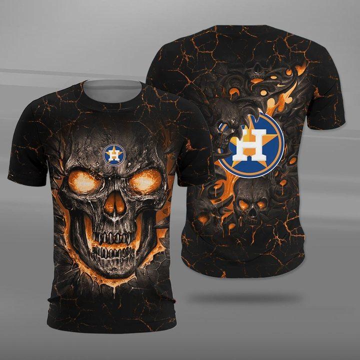 Houston astros lava skull full printing tshirt