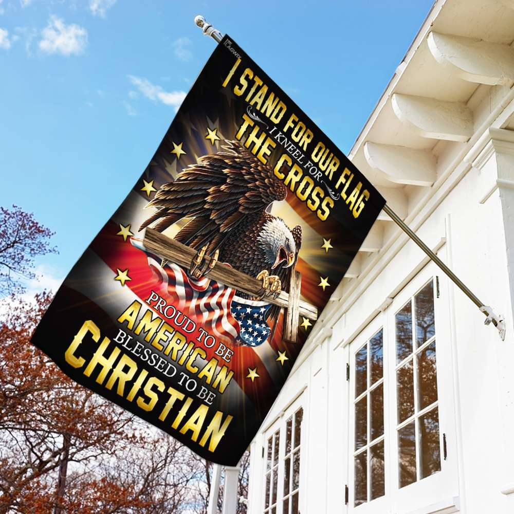 I stand for our flag i kneel for the cross american eagle christian cross flag 1