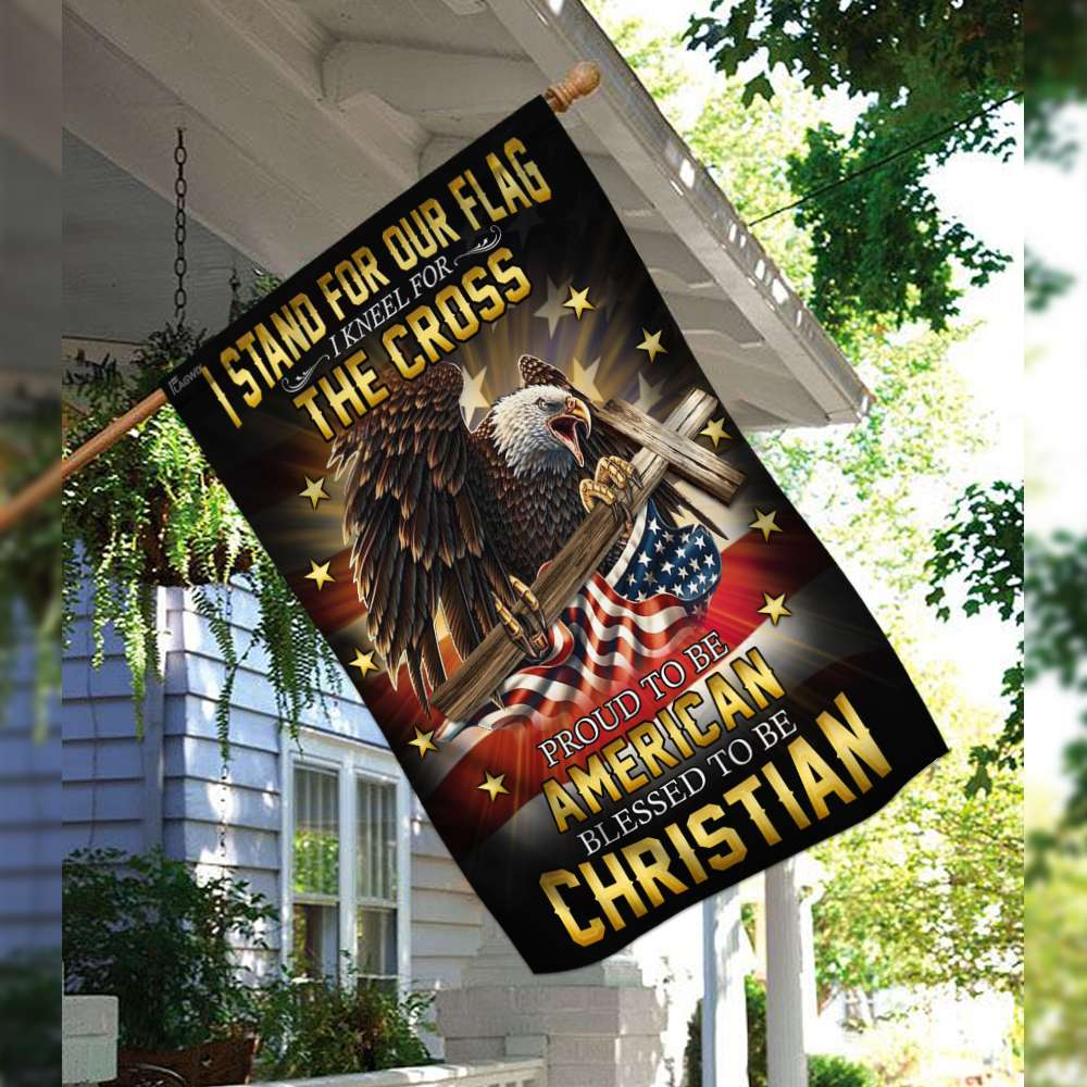 I stand for our flag i kneel for the cross american eagle christian cross flag 2