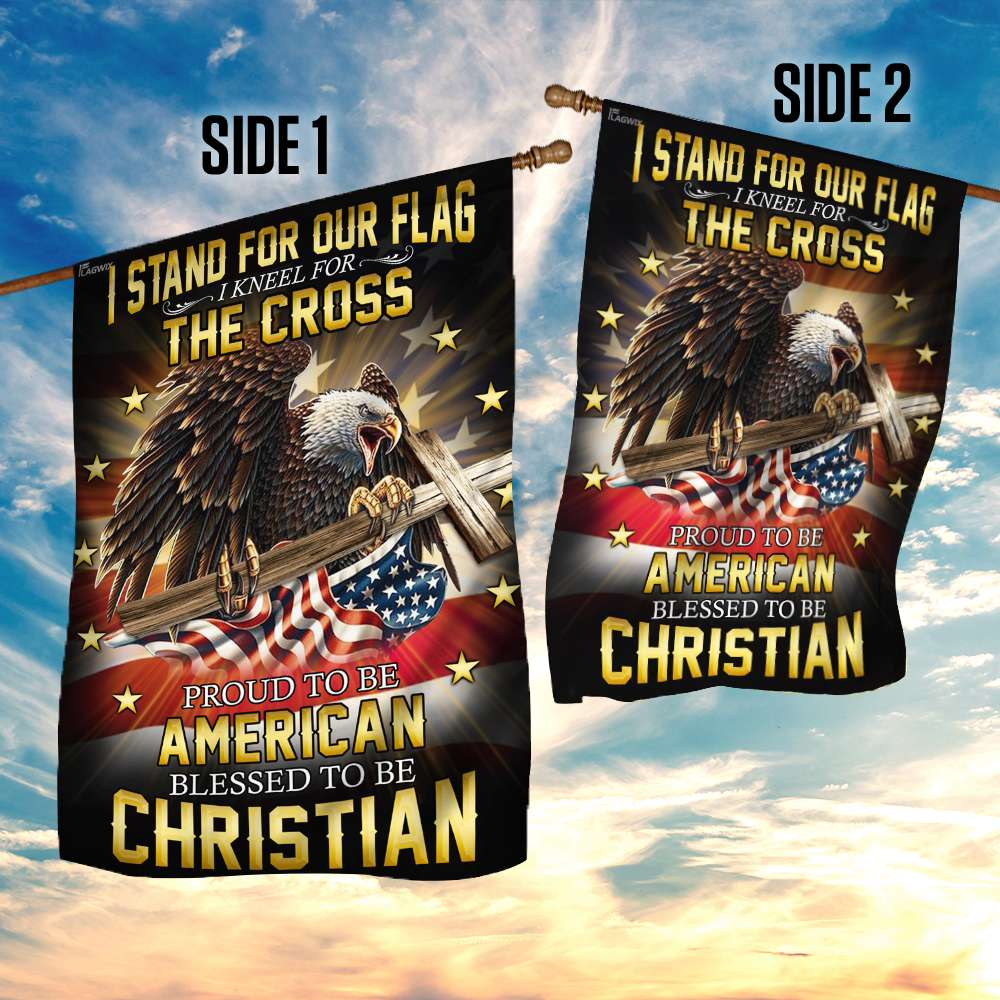 I stand for our flag i kneel for the cross american eagle christian cross flag 4