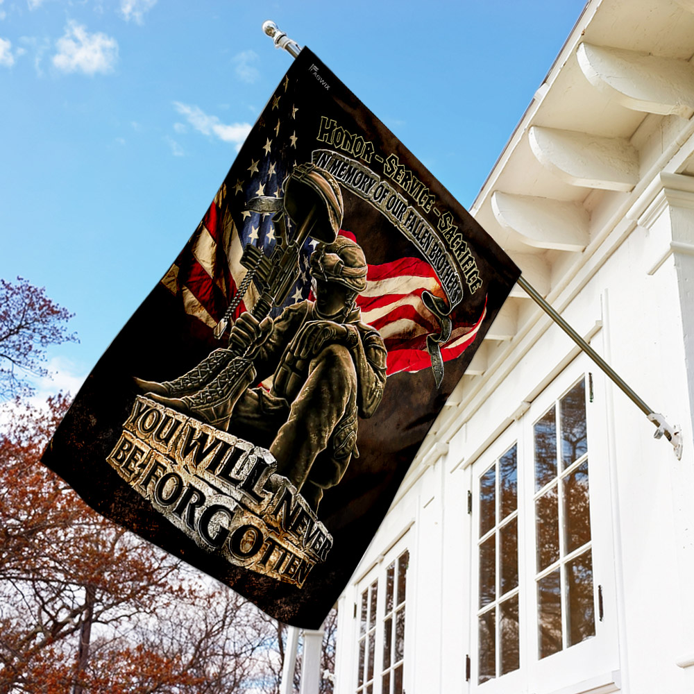 In memory of our fallen brothers you will never be forgotten veterans american flag 1