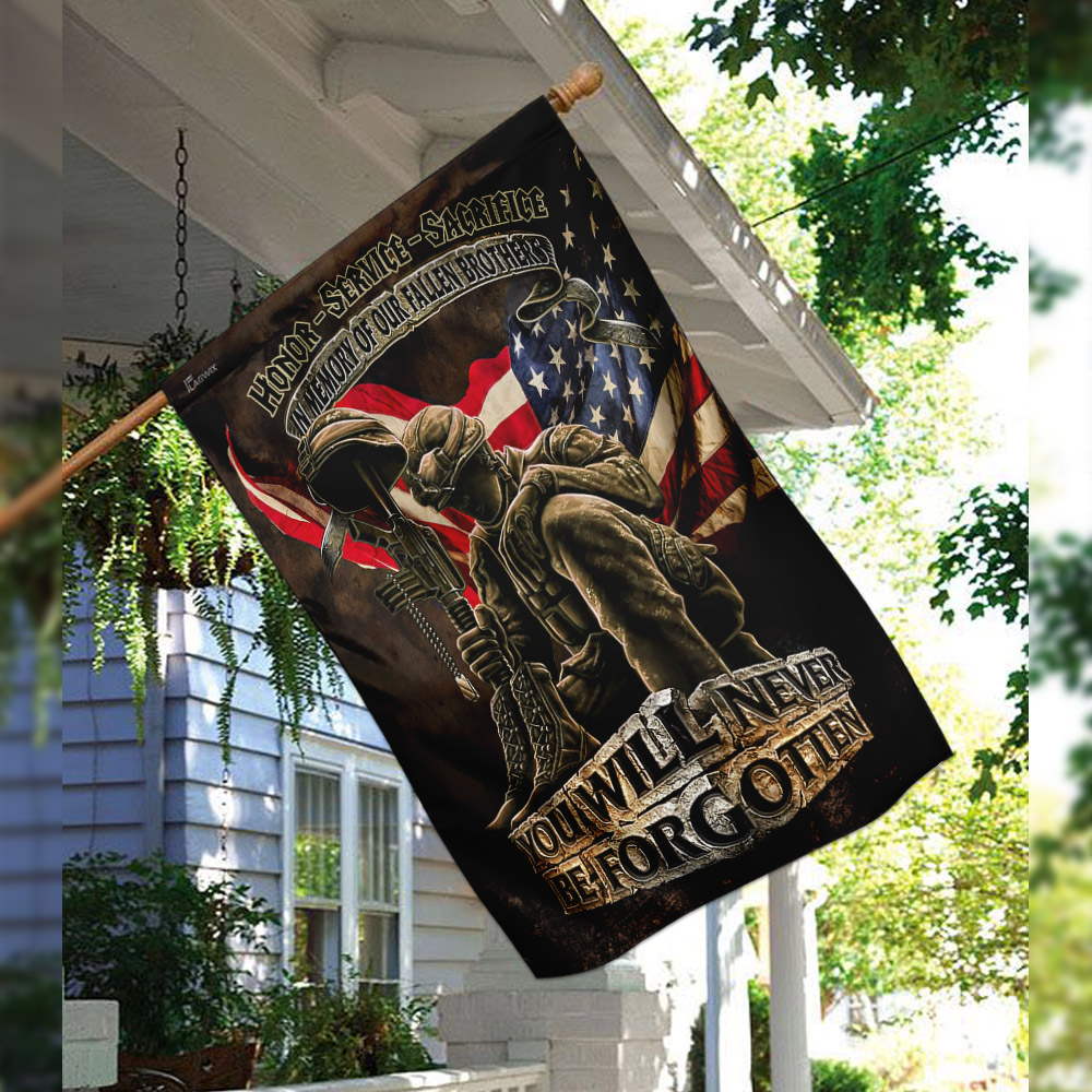 In memory of our fallen brothers you will never be forgotten veterans american flag 2