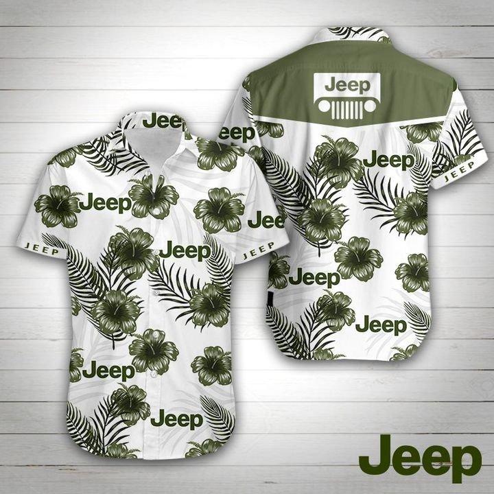 Jeep car tropical flower hawaiian shirt 1