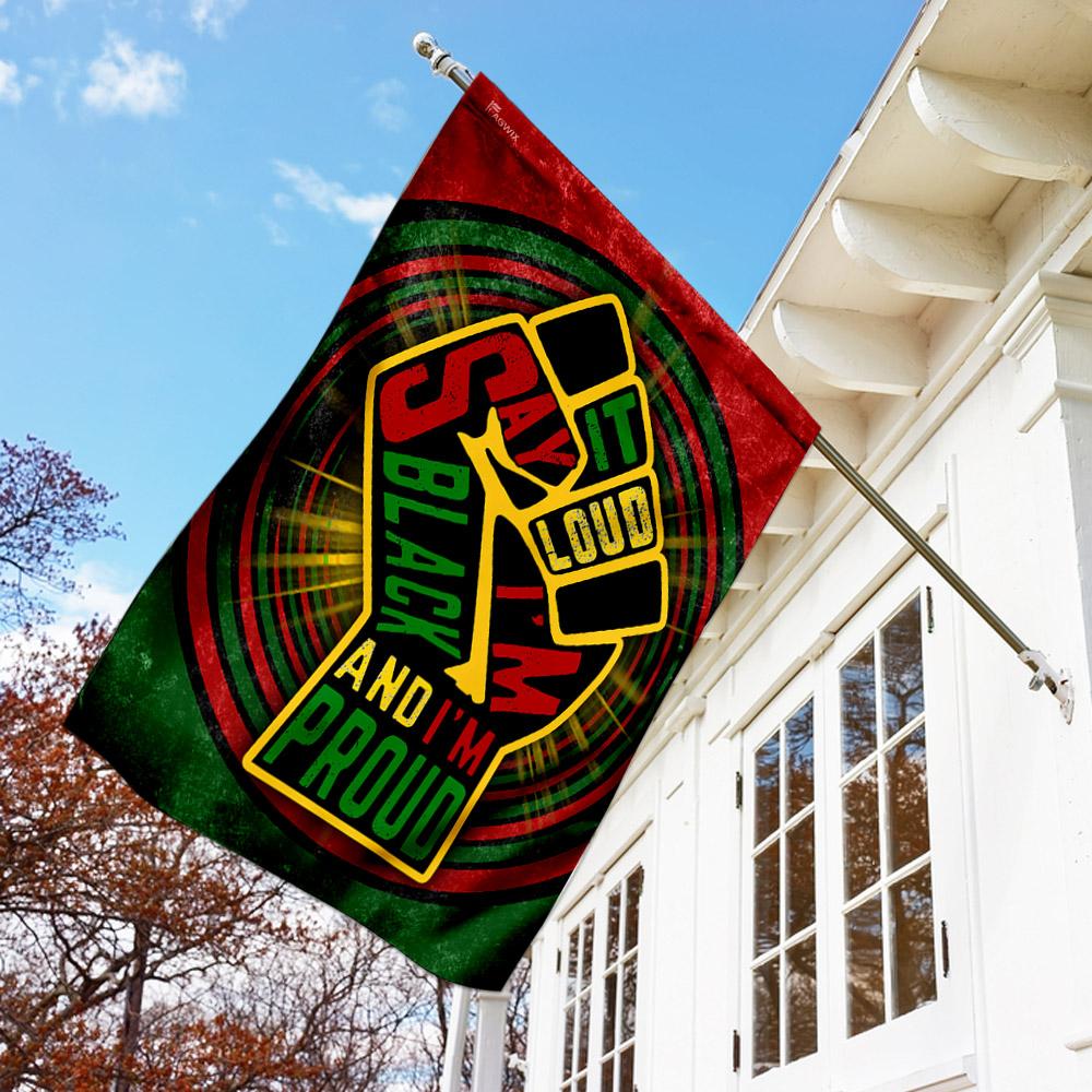 Juneteenth say it loud i'm black and i'm proud flag 1
