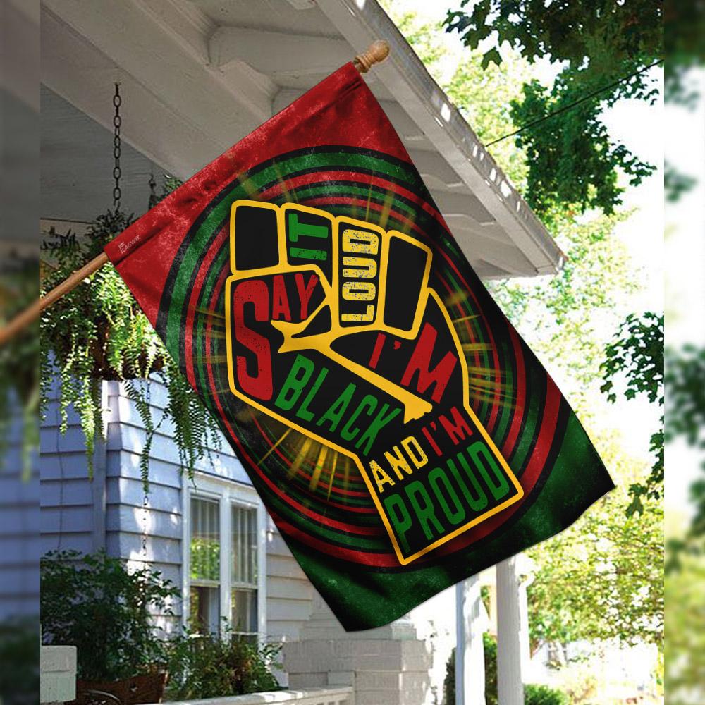 Juneteenth say it loud i'm black and i'm proud flag 2