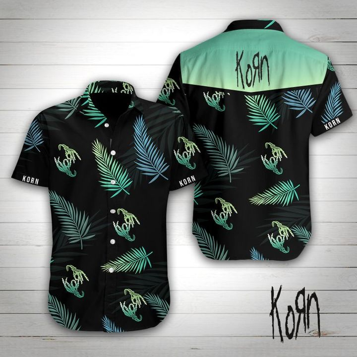 Korn rock band tropical flower hawaiian shirt 1