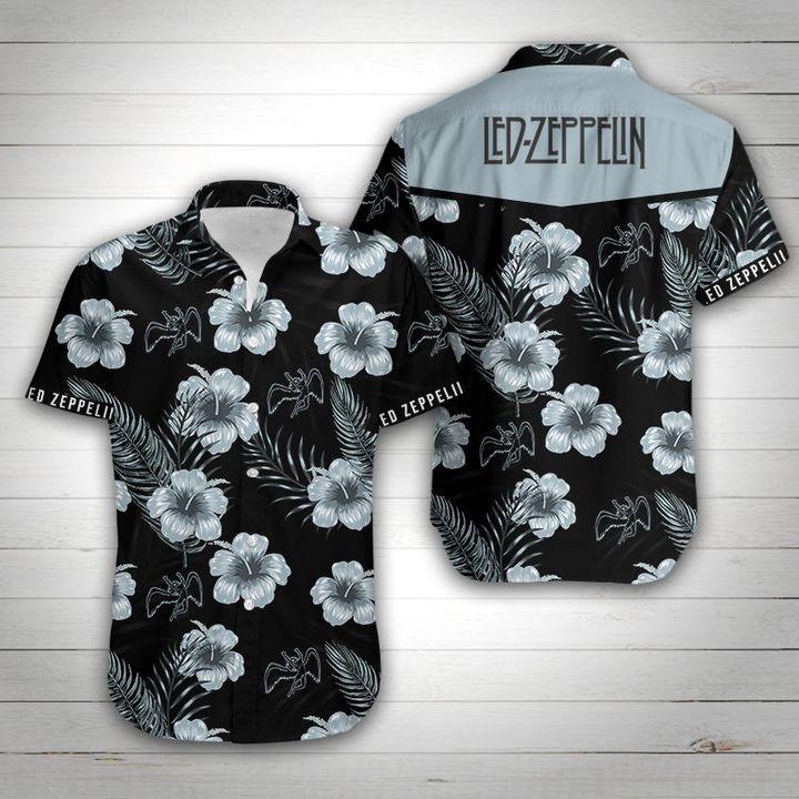 Led zeppelin tropical flower hawaiian shirt 2