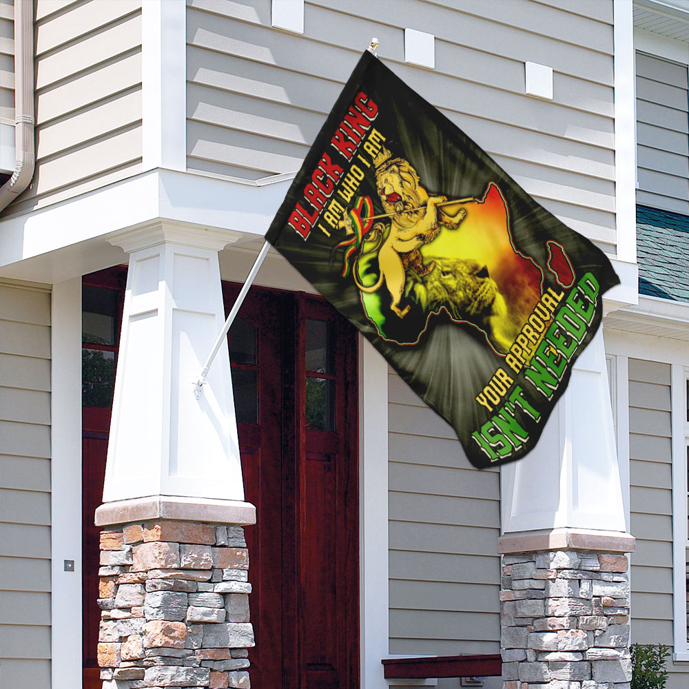Lion king black king i am who i am your approval isn't needed flag 3
