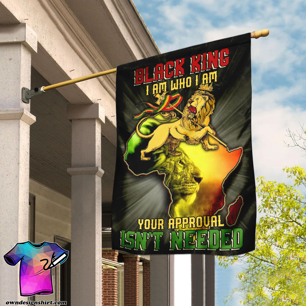 Lion king black king i am who i am your approval isn_t needed flag