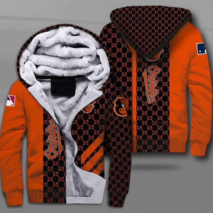 MLB baltimore orioles full printing fleece hoodie