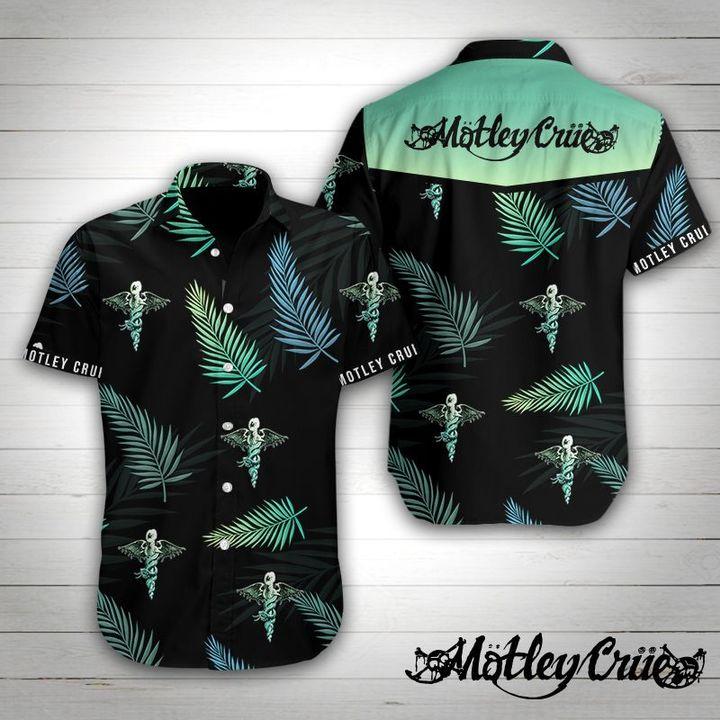Motley crue rock band tropical flower hawaiian shirt 1