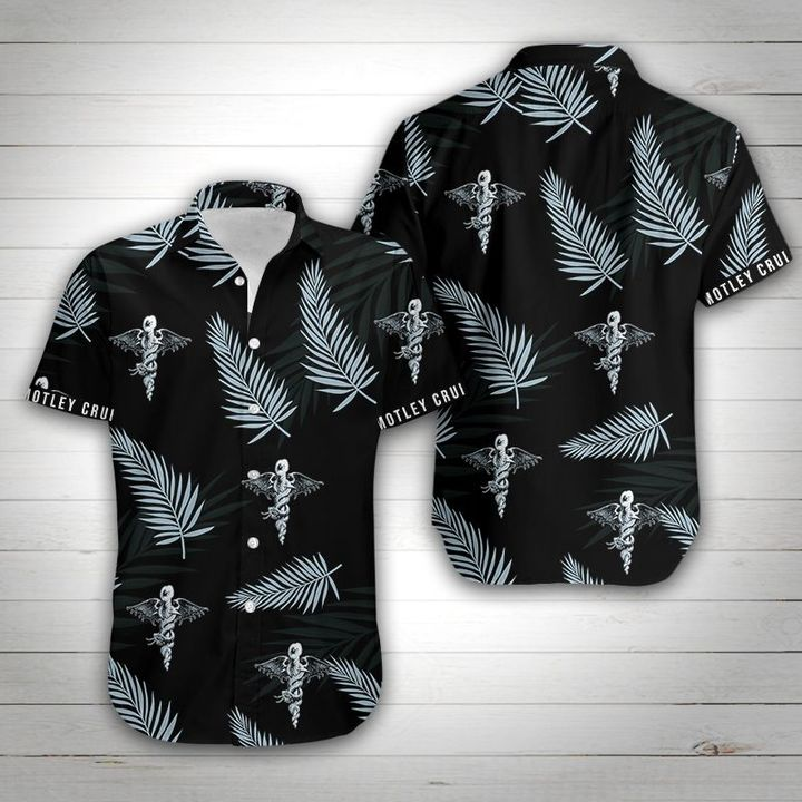Motley crue tropical flower hawaiian shirt 1