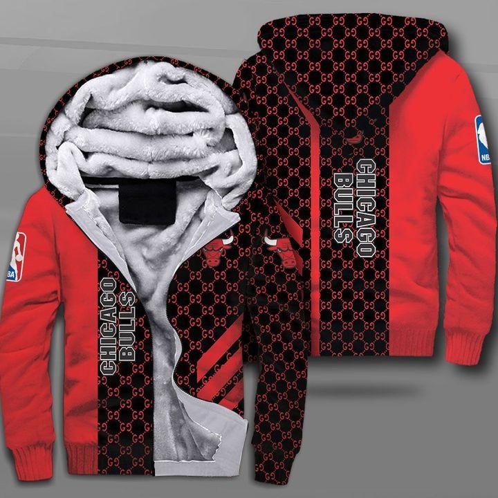 NBA chicago bulls full printing fleece hoodie