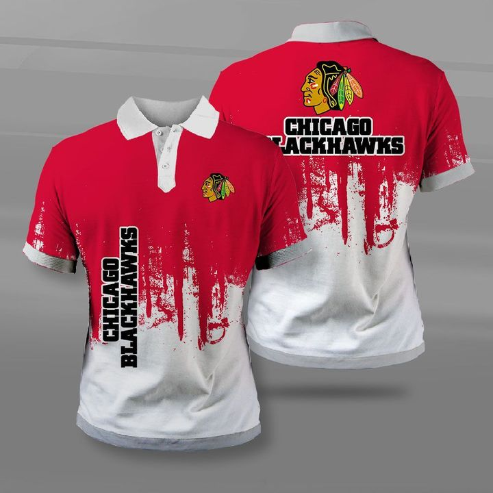 NHL chicago blackhawks full printing polo