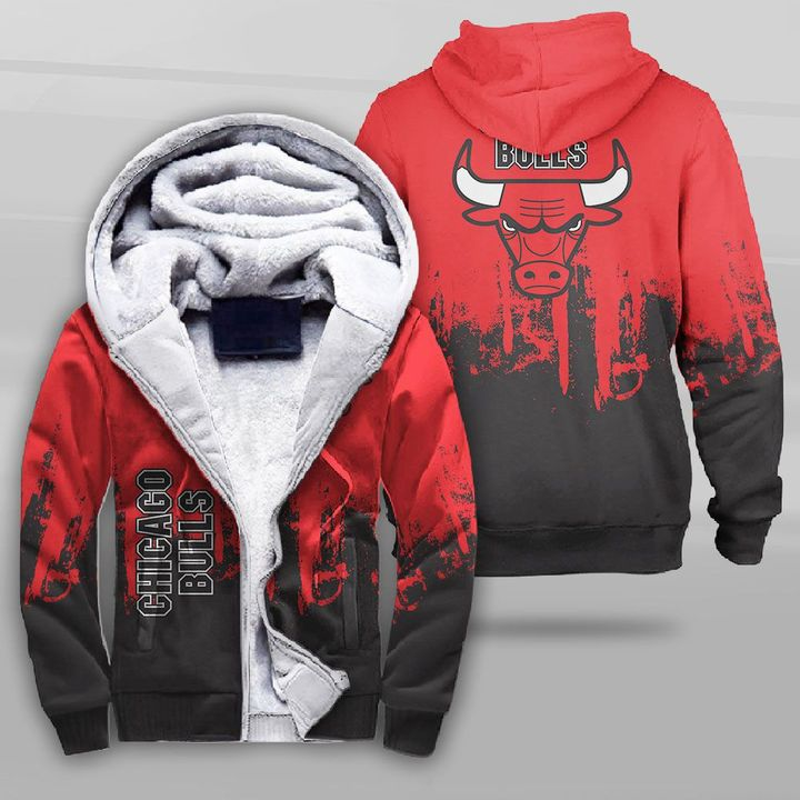 National basketball association chicago bulls full printing fleece hoodie
