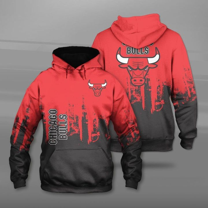 National basketball association chicago bulls full printing hoodie