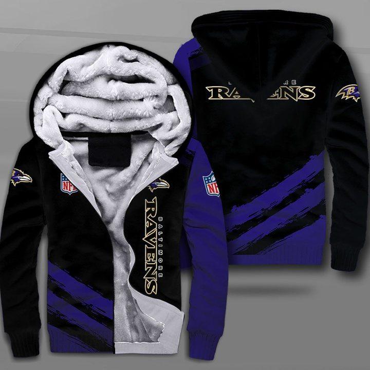 National football league baltimore ravens full printing fleece hoodie