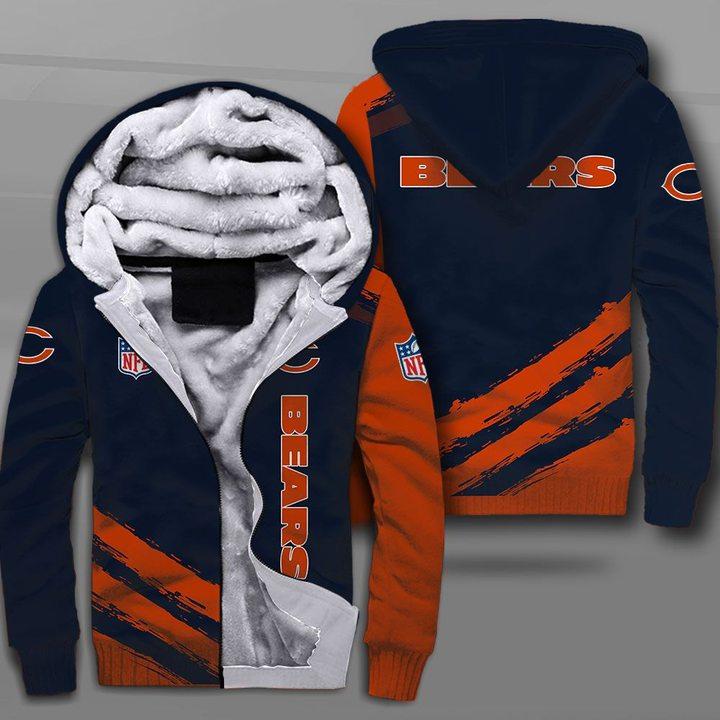 National football league chicago bears full printing fleece hoodie