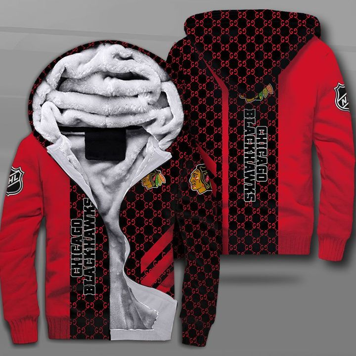 National hockey league chicago blackhawks full printing fleece hoodie
