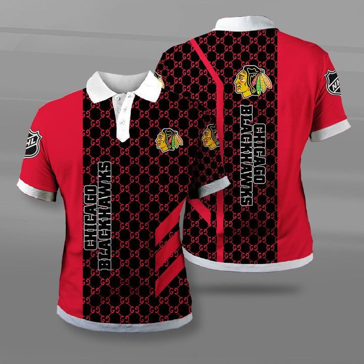 National hockey league chicago blackhawks full printing polo