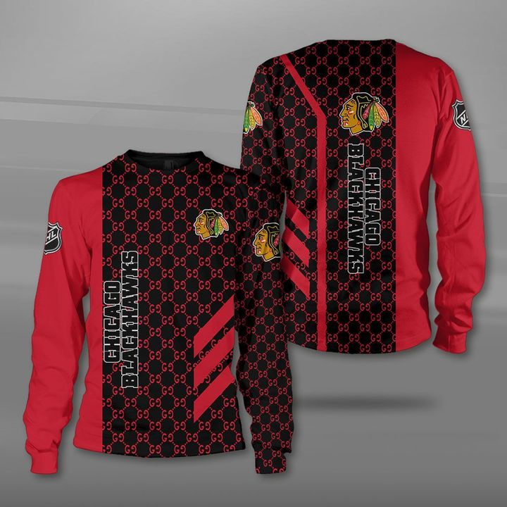 National hockey league chicago blackhawks full printing sweatshirt