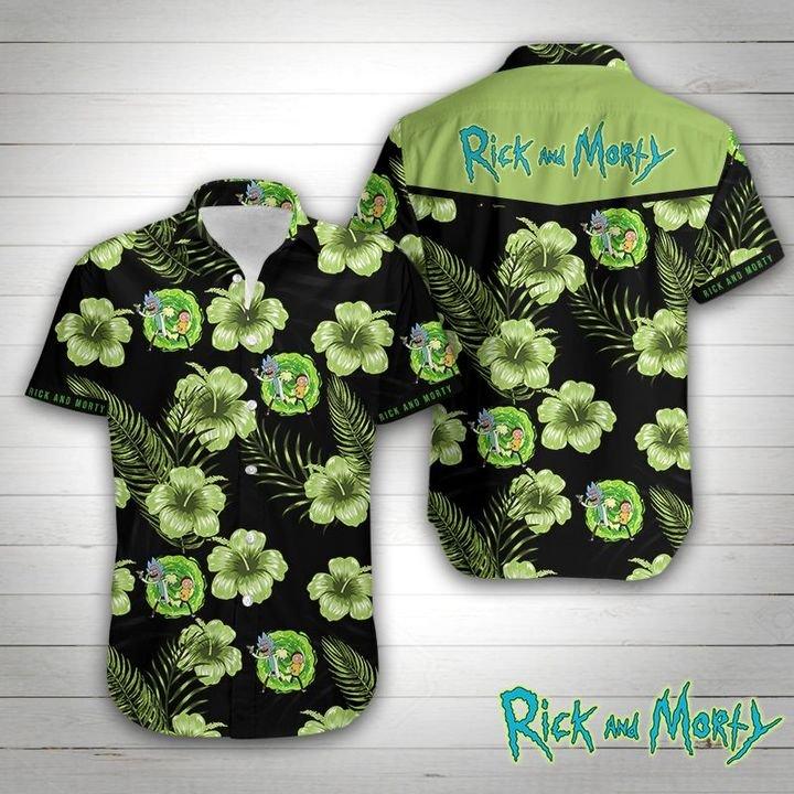 Rick and morty tropical flower hawaiian shirt 1