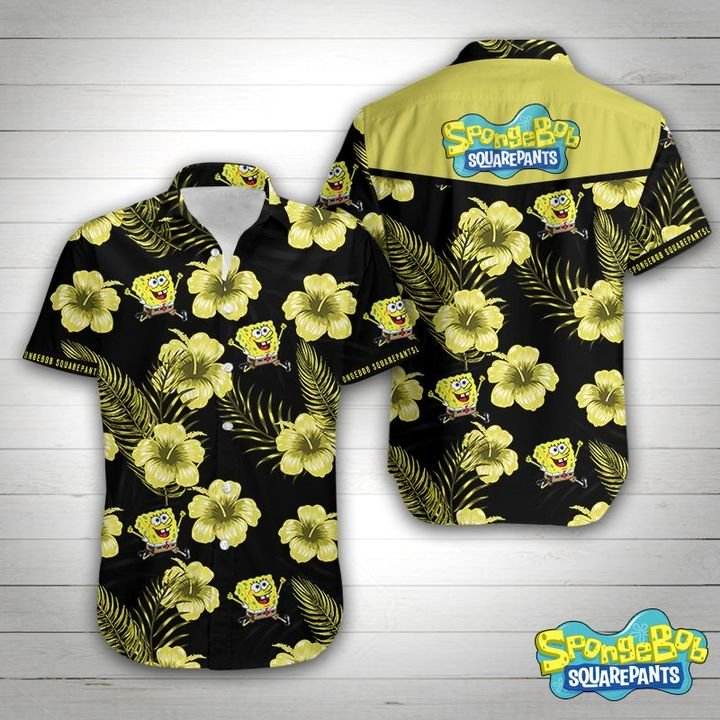 SpongeBob squarepants tropical flower hawaiian shirt 1