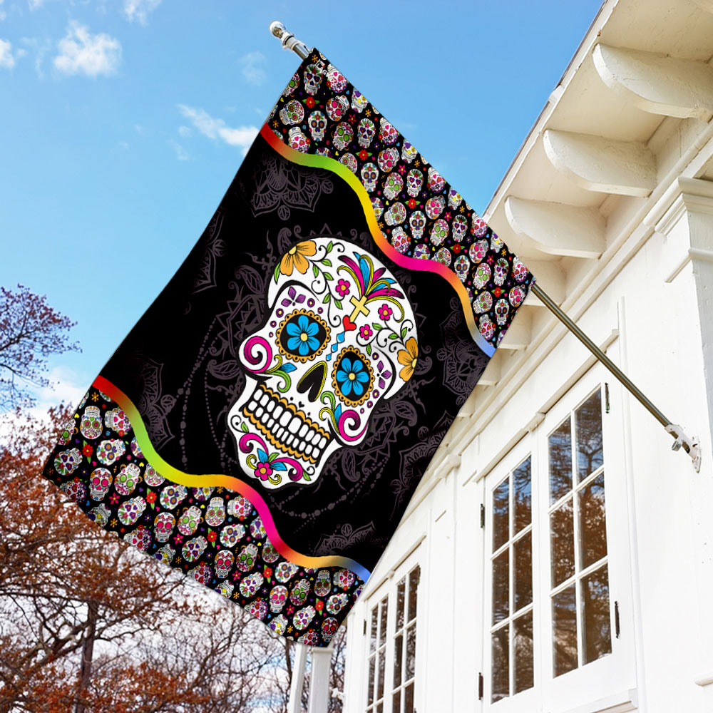 Sugar skull mandala flag 1