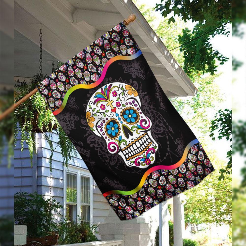Sugar skull mandala flag 2