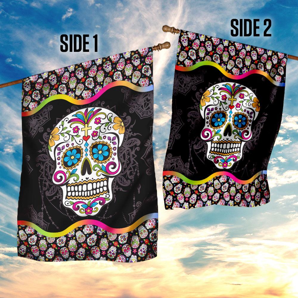 Sugar skull mandala flag 4