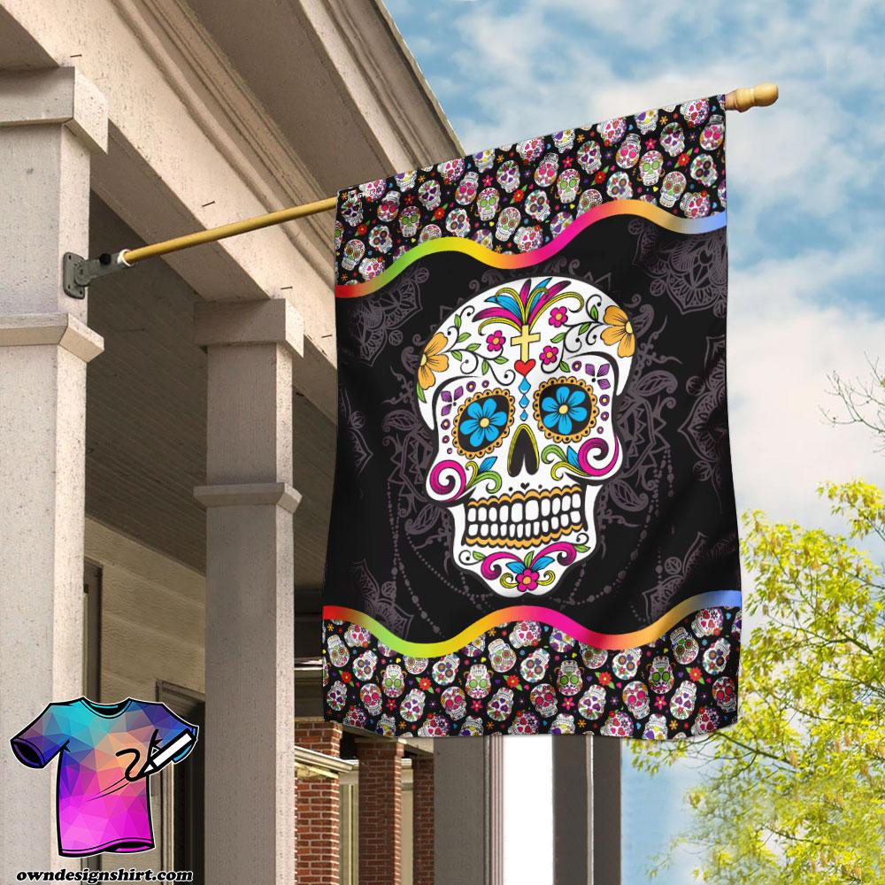 Sugar skull mandala flag