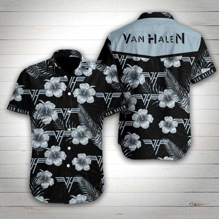 Van halen tropical flower hawaiian shirt 1