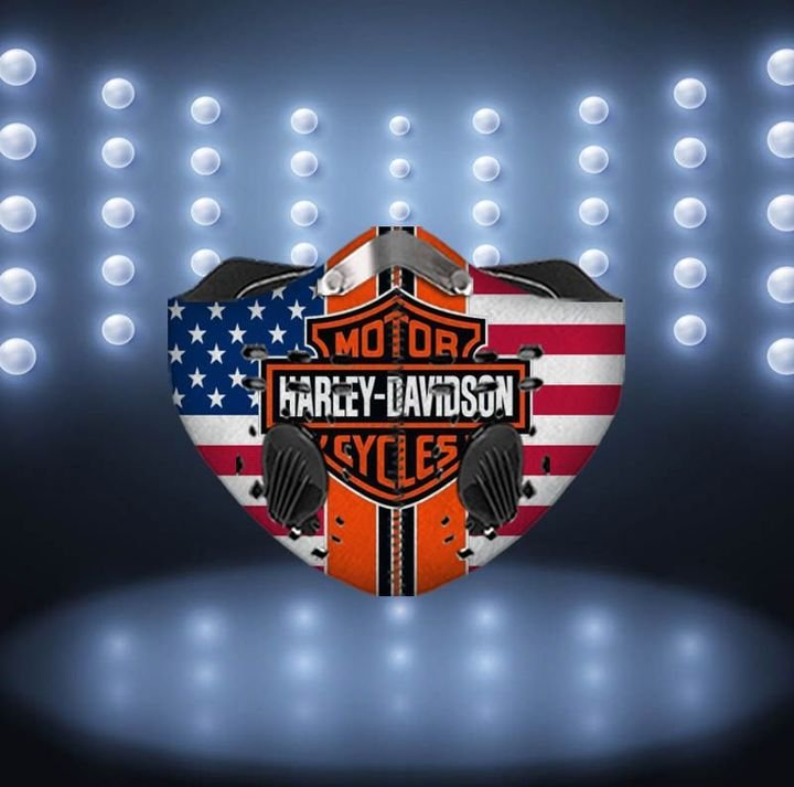 American flag harley-davidson motorcycles filter activated carbon face mask 1