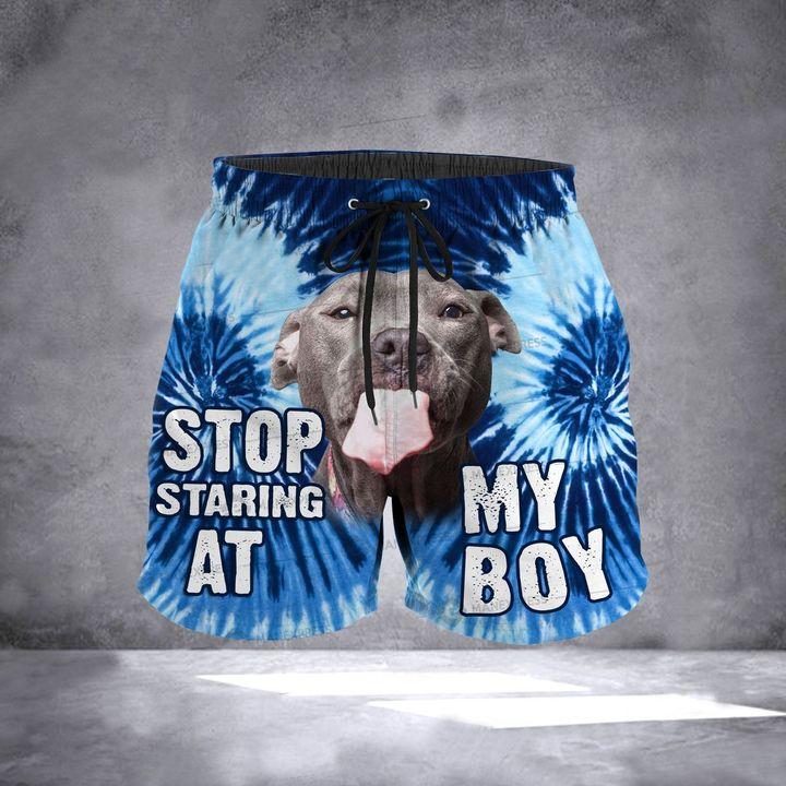 American pit bull terrier stop staring at my boy hawaiian shorts 1