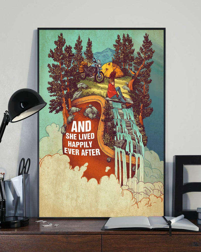 And she lived happily ever after camping vintage poster 3