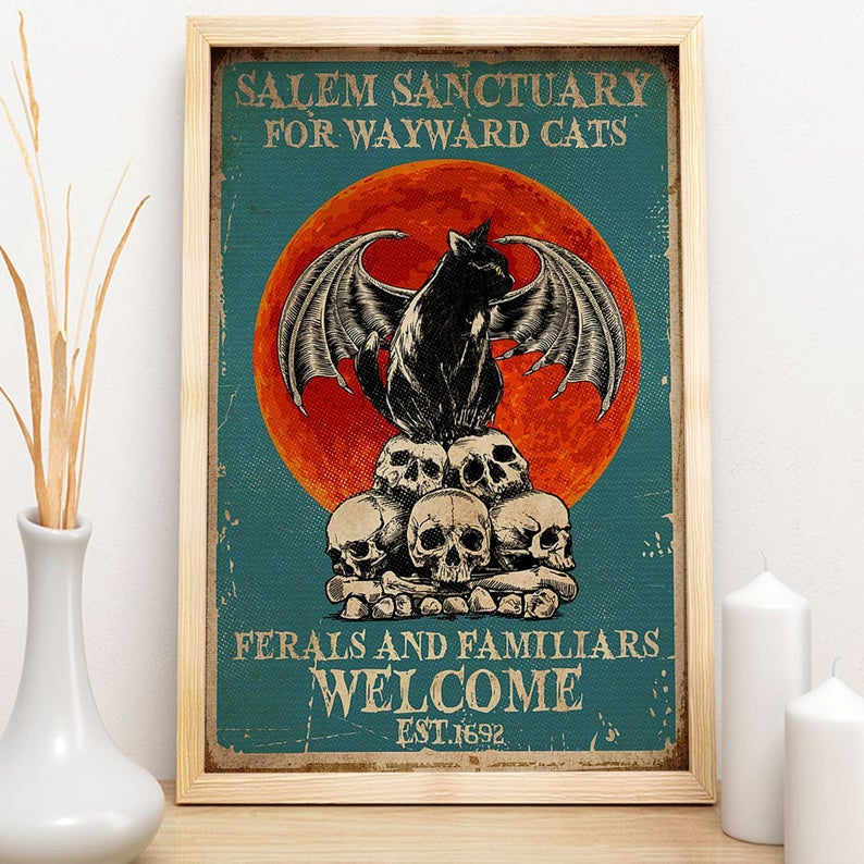 Black cat salem sanctury for wayward cats feral and familiar est 1962 halloween poster 1