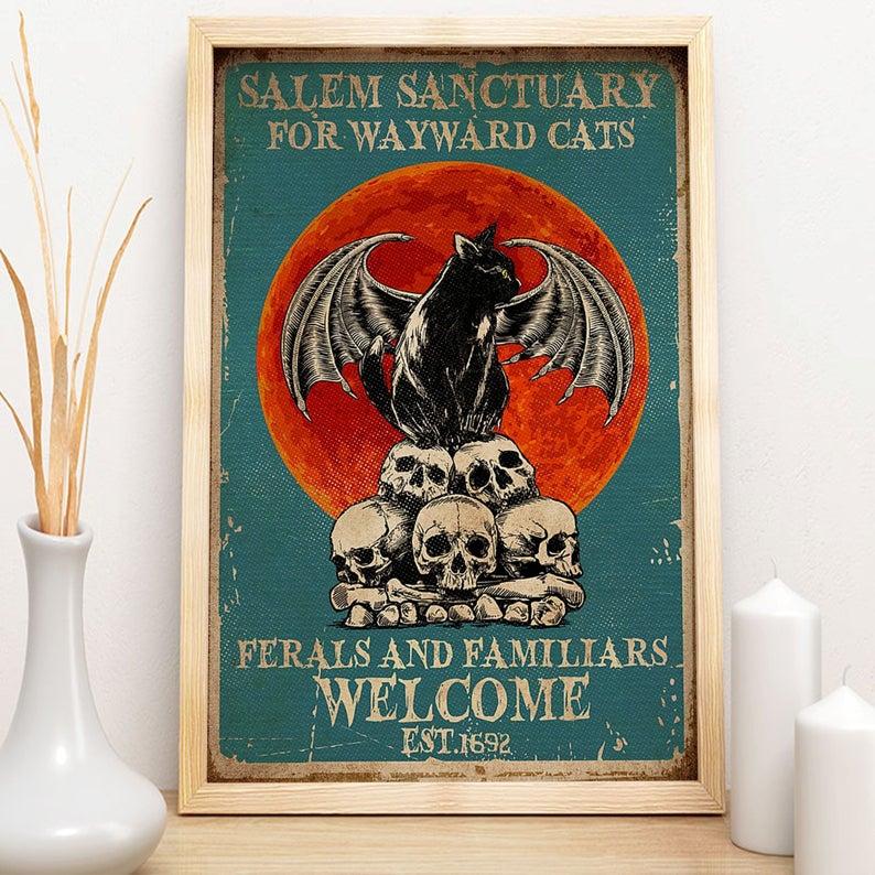Black cat salem sanctury for wayward cats feral and familiar est 1962 halloween poster 2
