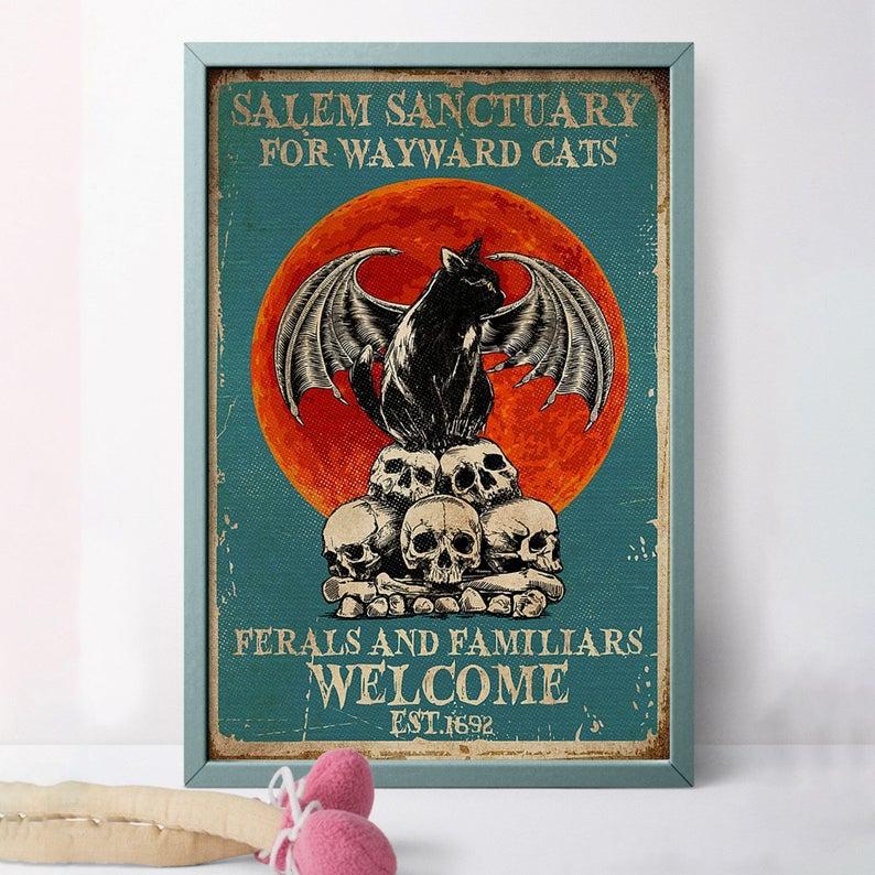 Black cat salem sanctury for wayward cats feral and familiar est 1962 halloween poster 4
